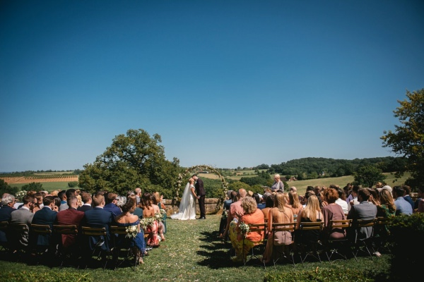outdoor chateau ceremony setup