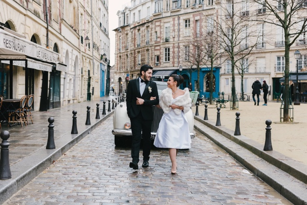 paris wedding couple walk