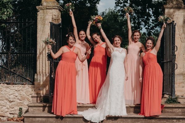 peach and coral bridesmaid dresses summer