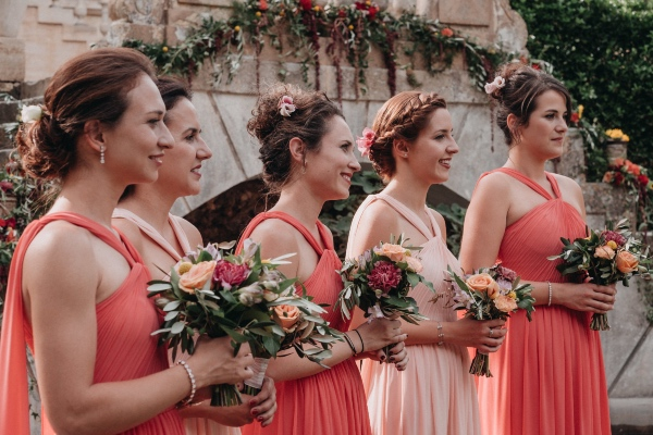 peach and coral bridesmaids