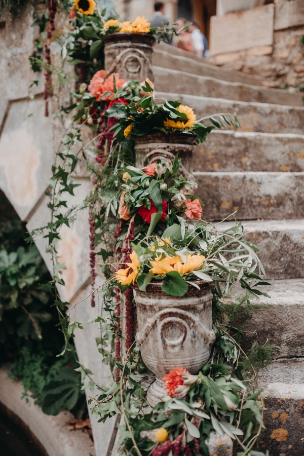 rustic summer flowers chateau
