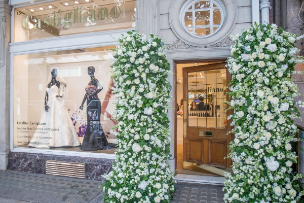 shop front floral installation