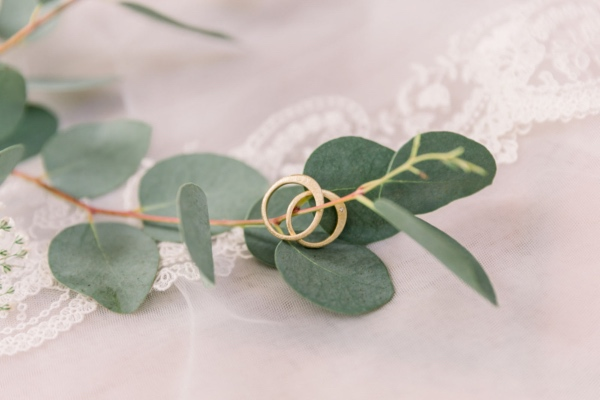wedding rings in eucalyptus