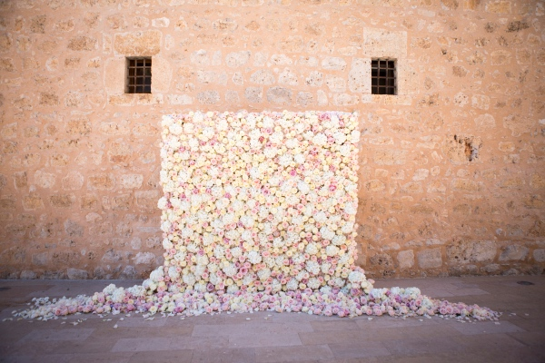 white and pink floral wall