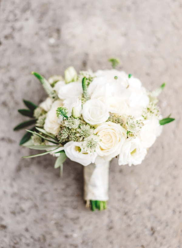 white rose french bouquet