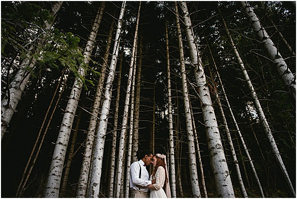 Forest wedding with trees in the Alps