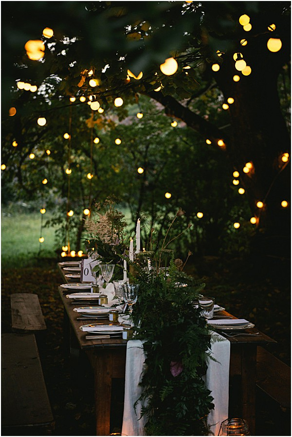 Nighttime Alps wedding in the Forest