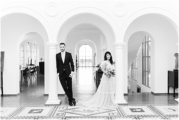 black and white styled shoot photos