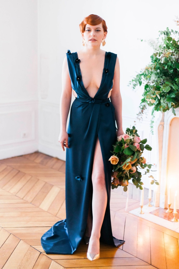 blue designer bridal dress