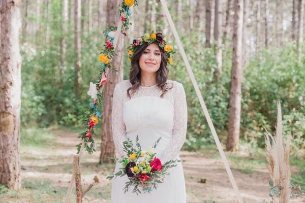 bohemian floral woodland