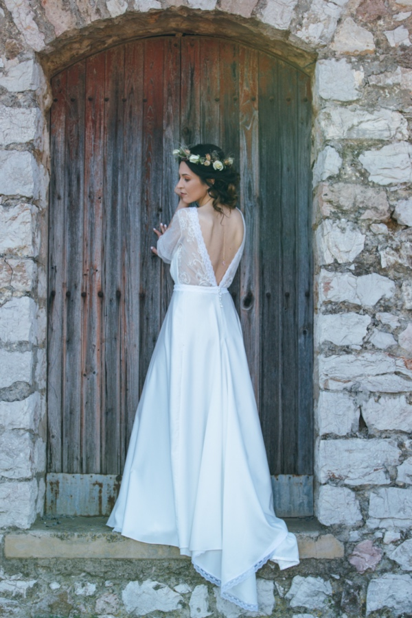 bridal gown with floral crown