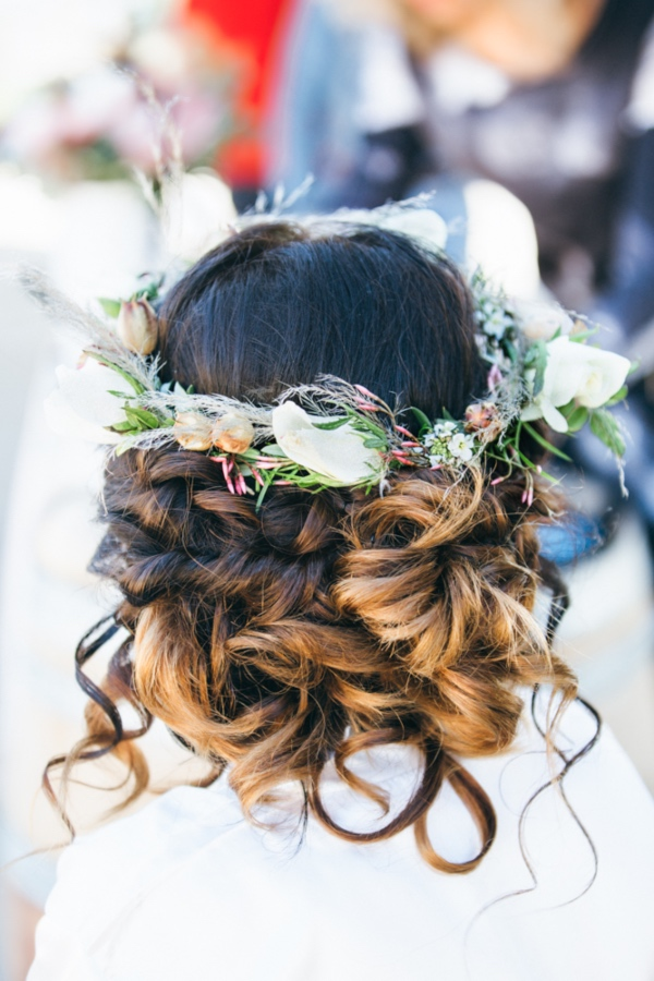 bridal hairstyle floral crown