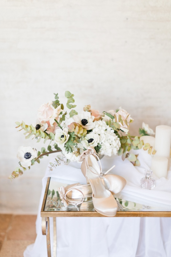 bridal shoes with florals
