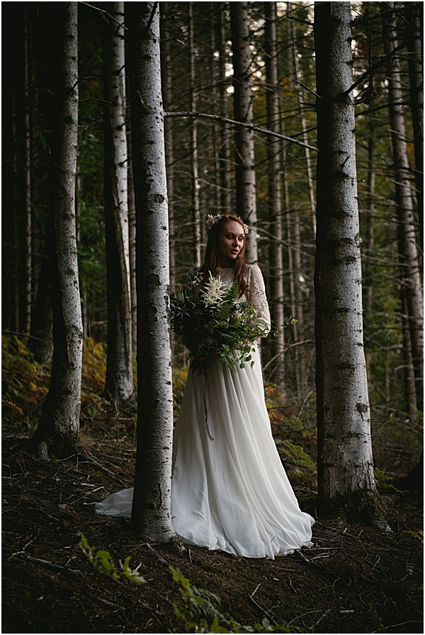 bride in the forest in France