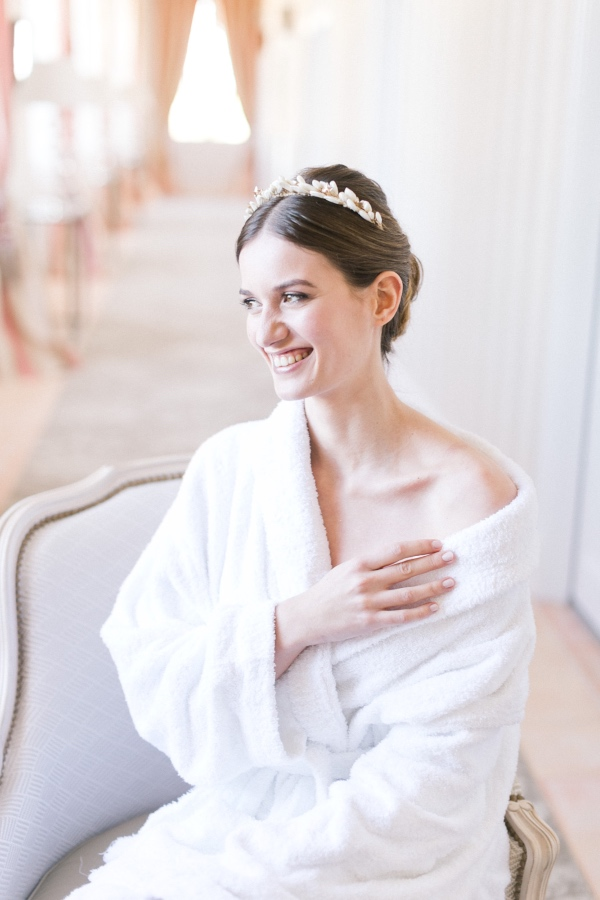 bride in tiara and robe