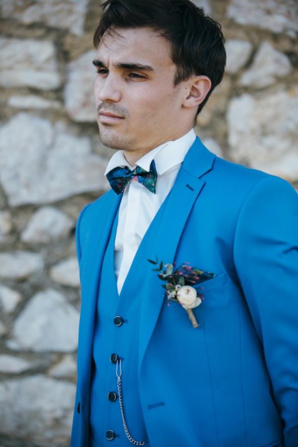 bright blue groom suit