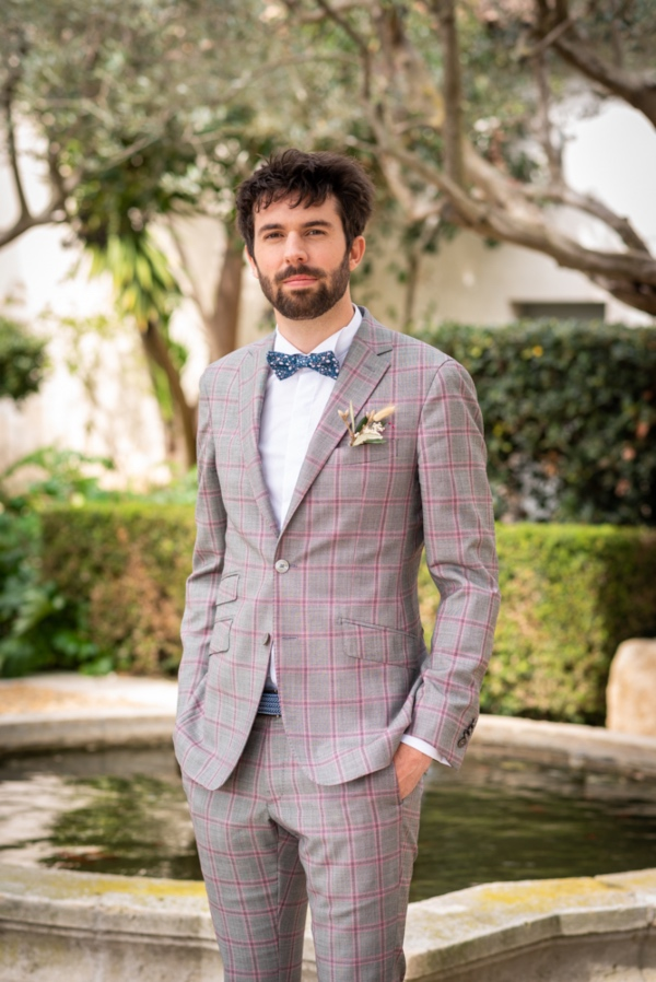 checkered grooms suit