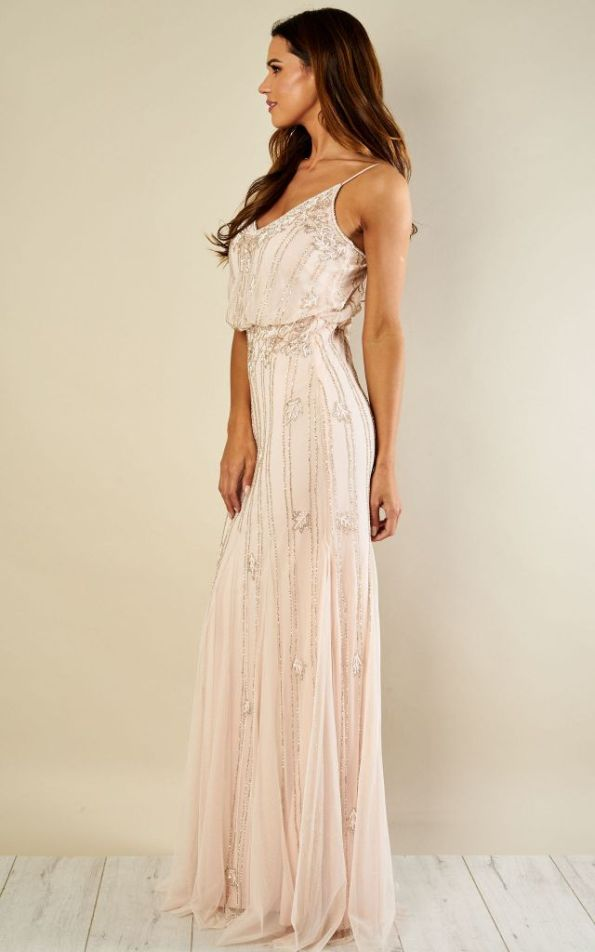 chic blush maxi bridesmaid dress
