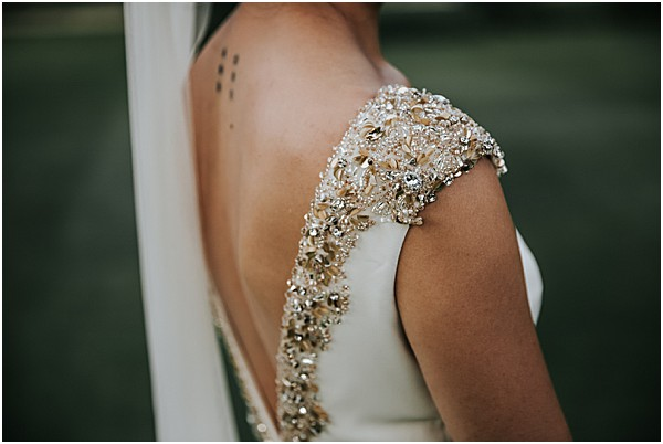 close up on this brides gown