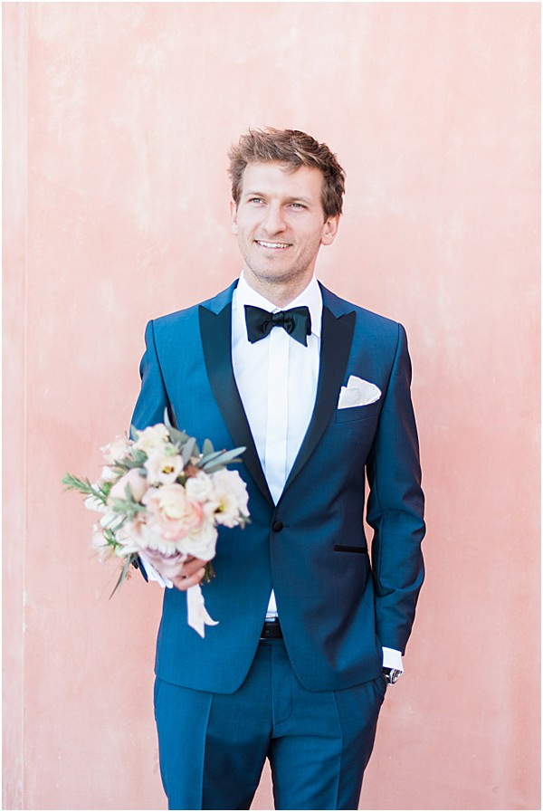 dark blue suit handsome grooms attire
