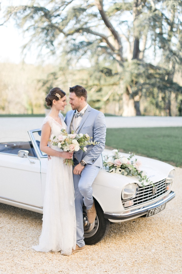 elegant white car wedding