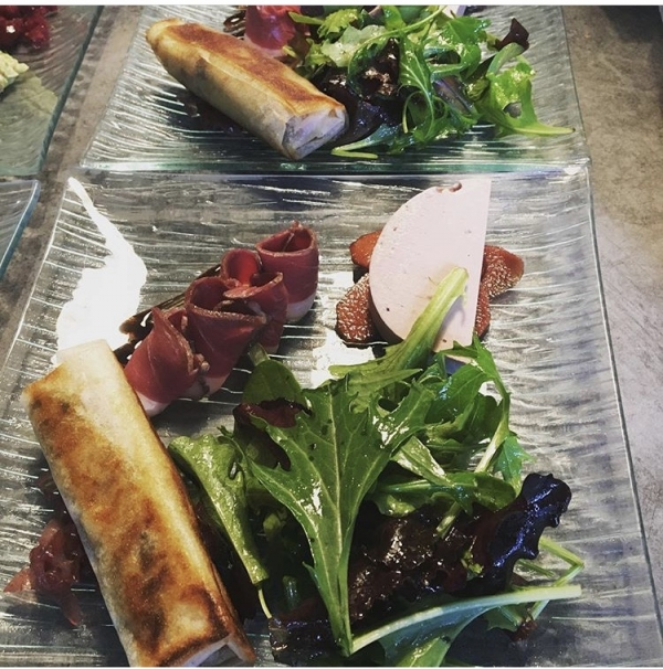 french starter menu salad bread and meats