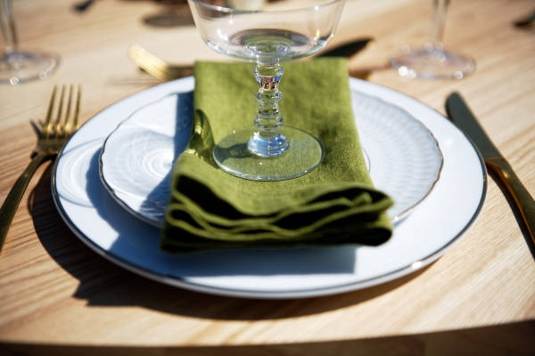 green wedding napkin