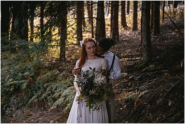 groom and bride in the forest