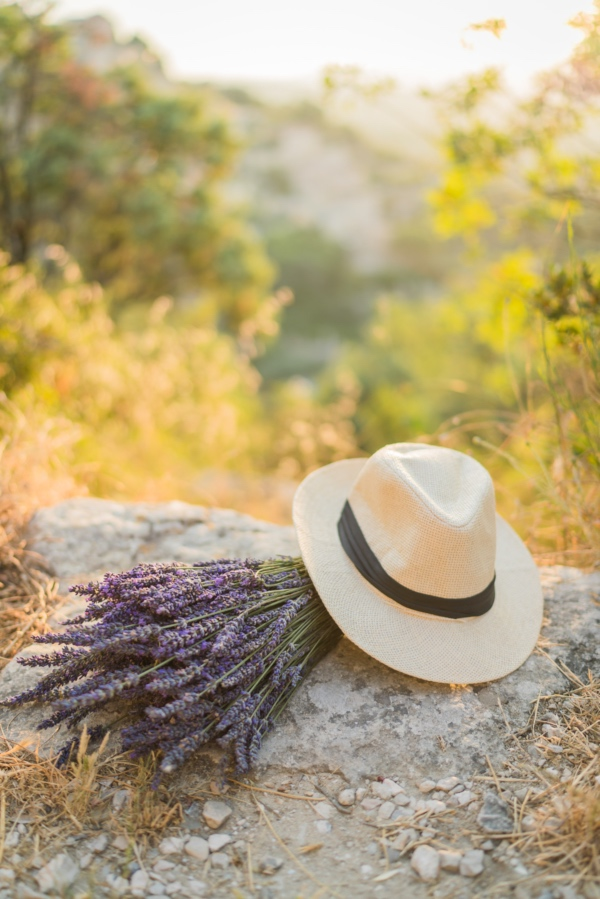 lavender bouquet straw hat