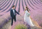 lavender wedding couple