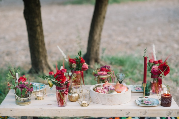 red floral romantic wedding