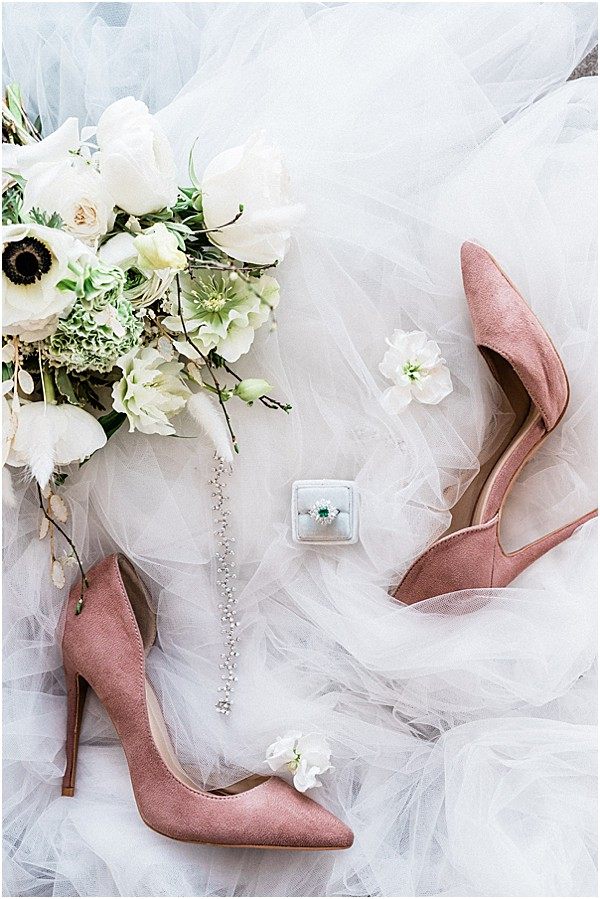 soft pink shoes with french florals overlay