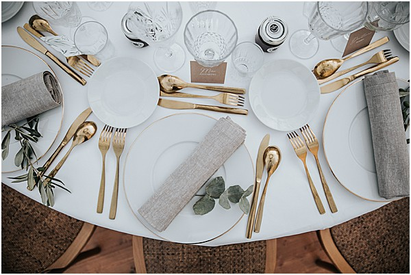 table top design with gold silverware