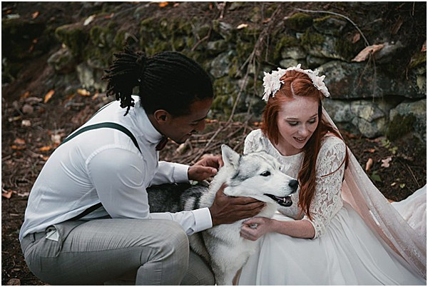wedding with a dog in the French Alps
