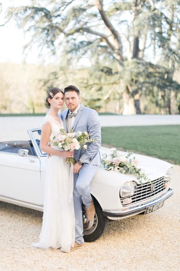 white vintage car wedding