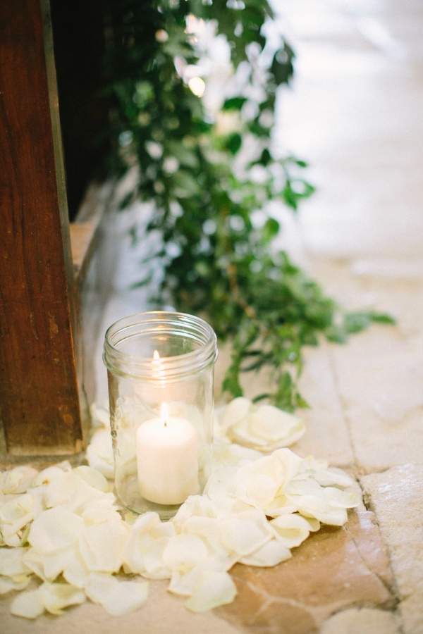 white wedding petals