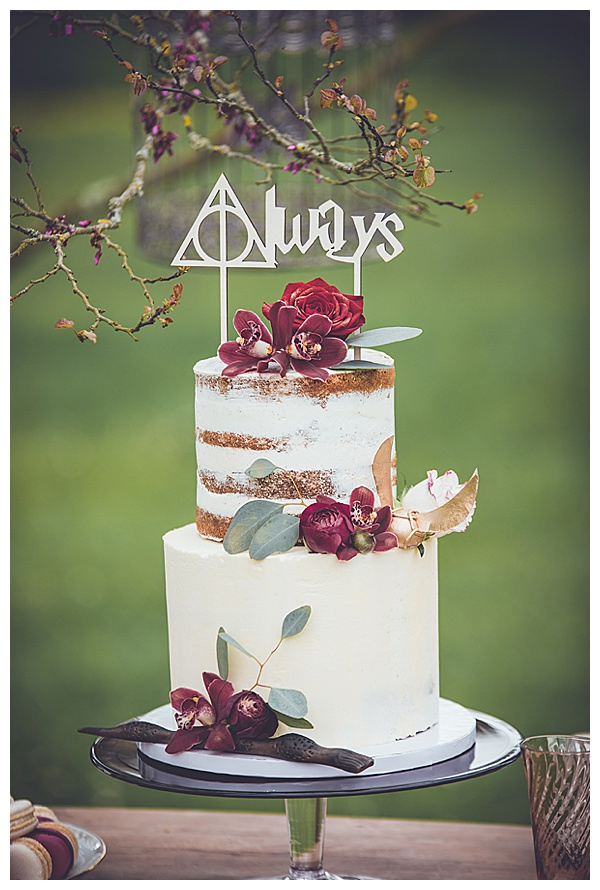 always harry potter topper themed naked cake