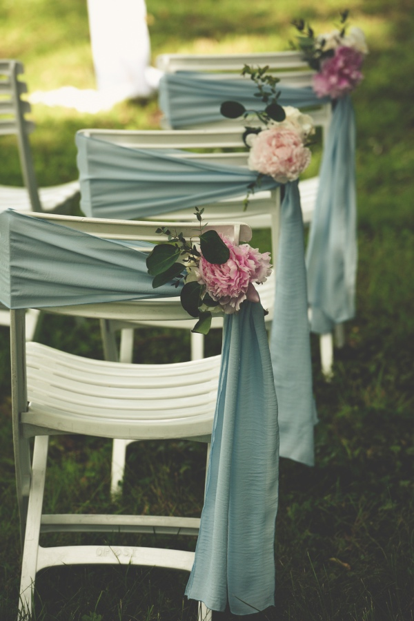 blue and pink wedding setup