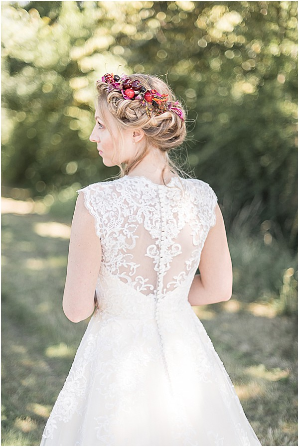 bridal hair with wedding gown