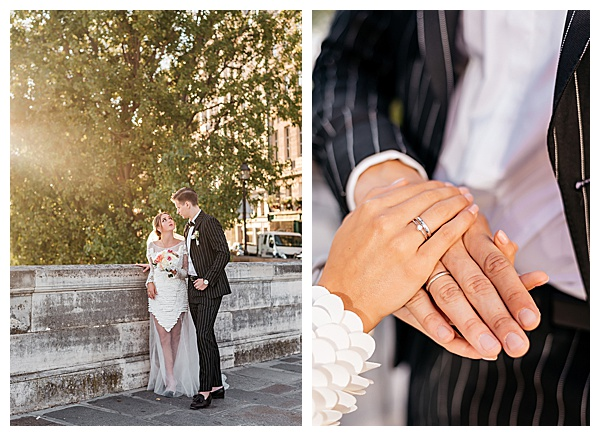 bride and groom rings with striped suit