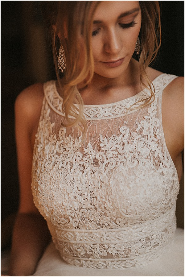bride with high neck wedding gown
