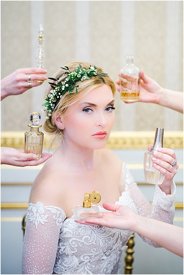 bride with purfume in france