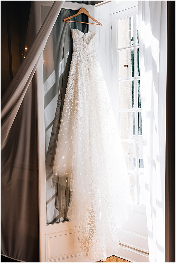 brides gown hanging