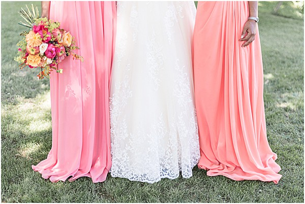 bridesmaids gown with wedding dress