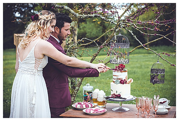 cake cutting sweets table harry potter wed