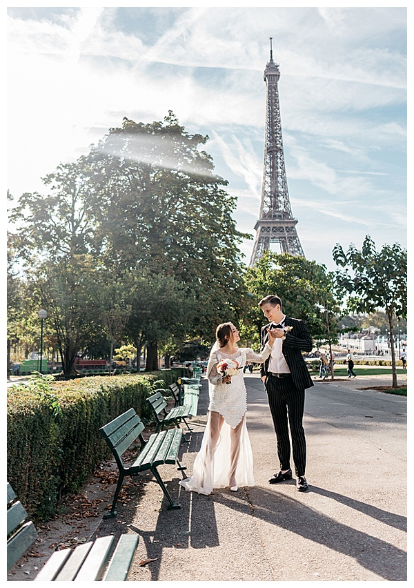 eiffel tower in paris wedding day