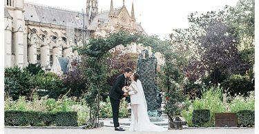 notre dame gardens wedding couple