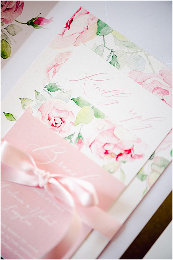 pink rose stationary with silk ribbons