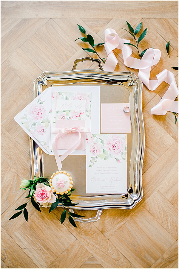 silver tray and stationary with ribbons