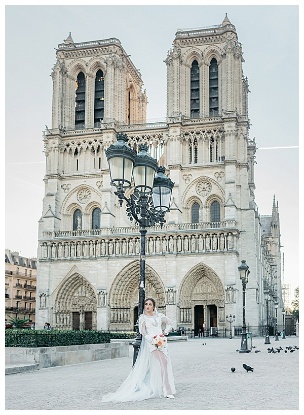 vogue bride in front of the notre dame